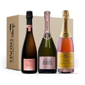 3 BOTTIGLIE DI BOLLICINE ROSE' FRANCESI Champagne-Cremant Brut Rosé 0.750 L
